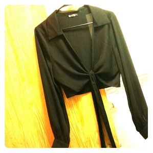 tie|front Collared top